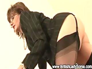 older stocking whore femdom gives footjob