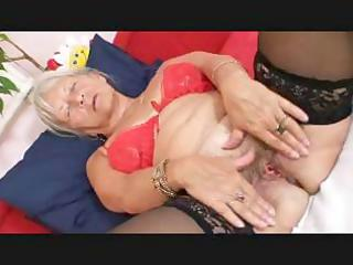 golden-haired granny receives lascivious and