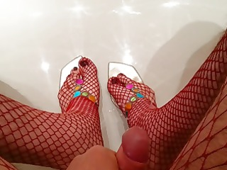 cum on my mothers strap sandals with red fishnet