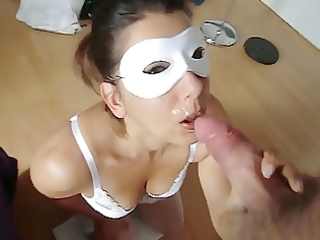 masked wife oral sex and cumshot