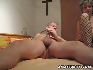 aged and breasty non-professional wife blow job
