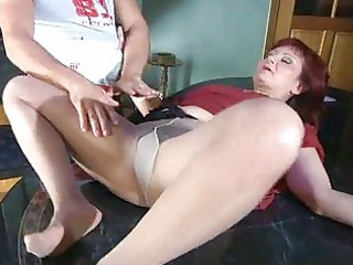 lewd mommy with nylon tights stuffed beneath