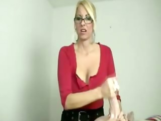 golden-haired mother i tugging cock during
