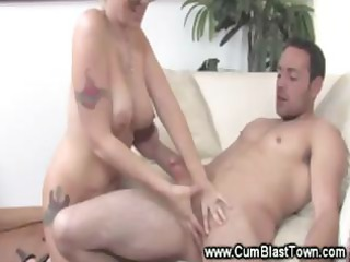 mature wench chats up boy as she is strokes his