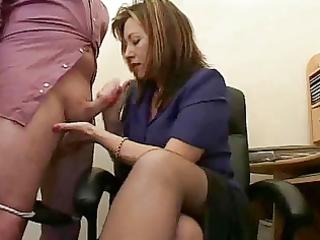 sexy aged secretary jerks the jizz from bosses