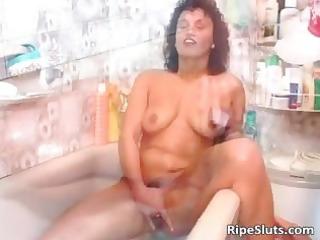 lewd older dark brown receives throat and soaked