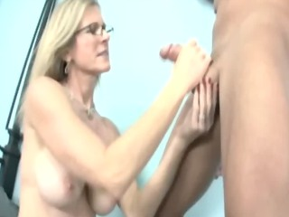 Milf babe working on cock for lucky guy and loves