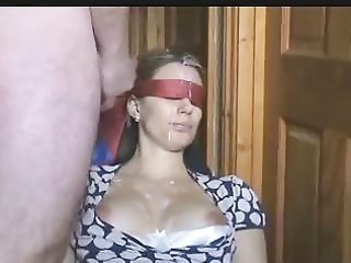 blind folded wife gets a lot of sex cream on her