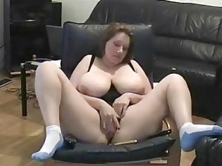 older lady fingering twat in living room