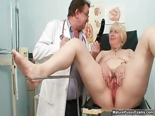 golden-haired grandma receives her pussy examed