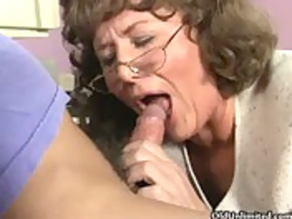 messy older mommy engulfing and kissing