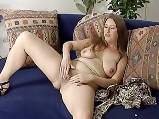 older blond playing with herself
