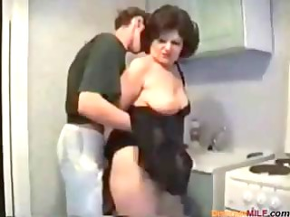 plumper brunette mommy receives nailed by her son