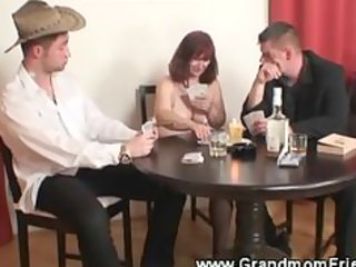 excited granny playing strip poker