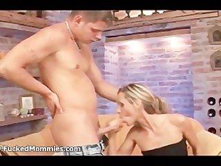slender blond mama gives oral pleasure and slurps