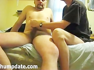 wife gives hubby a quick tugjob