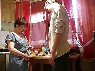 mom and chap in the kitchen