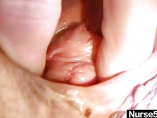 hot milf in nurse uniform stretching unshaved