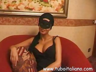 dark brown italian wife in a mask acquires a full