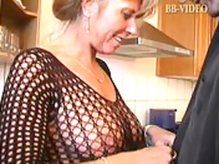 sexy german mommy in fishnets makes him cum in in
