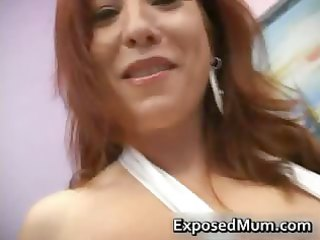 large boobed redhead mamma in white part6