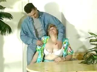 old corpulent blond granny receives toyed and