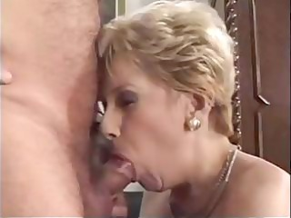 old blond granny acquires fingered and blows an