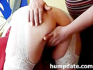 bound mature receives toys in her ass and vagina